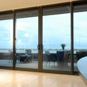 Aluminium sliding patio doors with large glass span