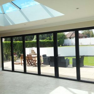 Internal black aluminium bifold doors