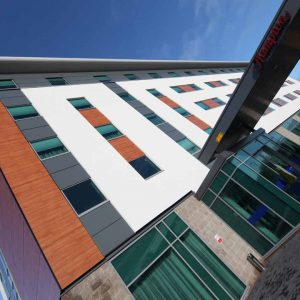 Grey aluminium curtain walling