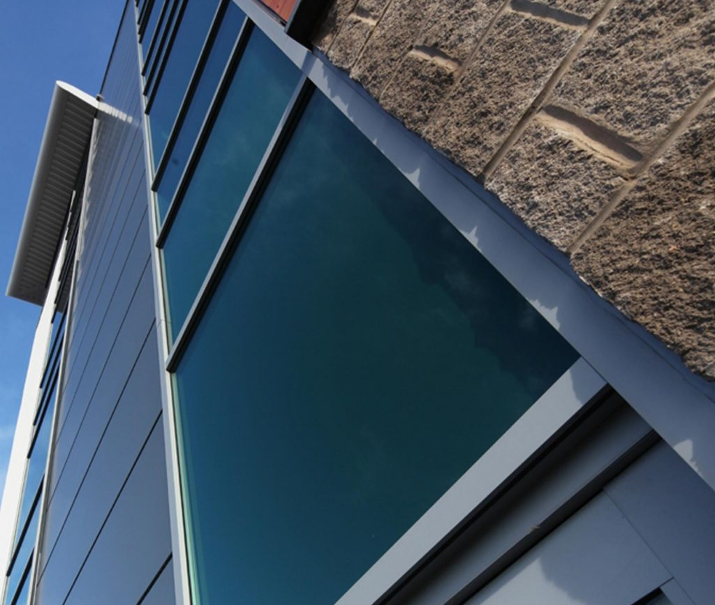 Grey aluminium window wall