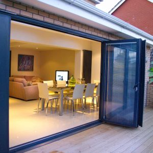 Black aluminium bifold door integral blinds