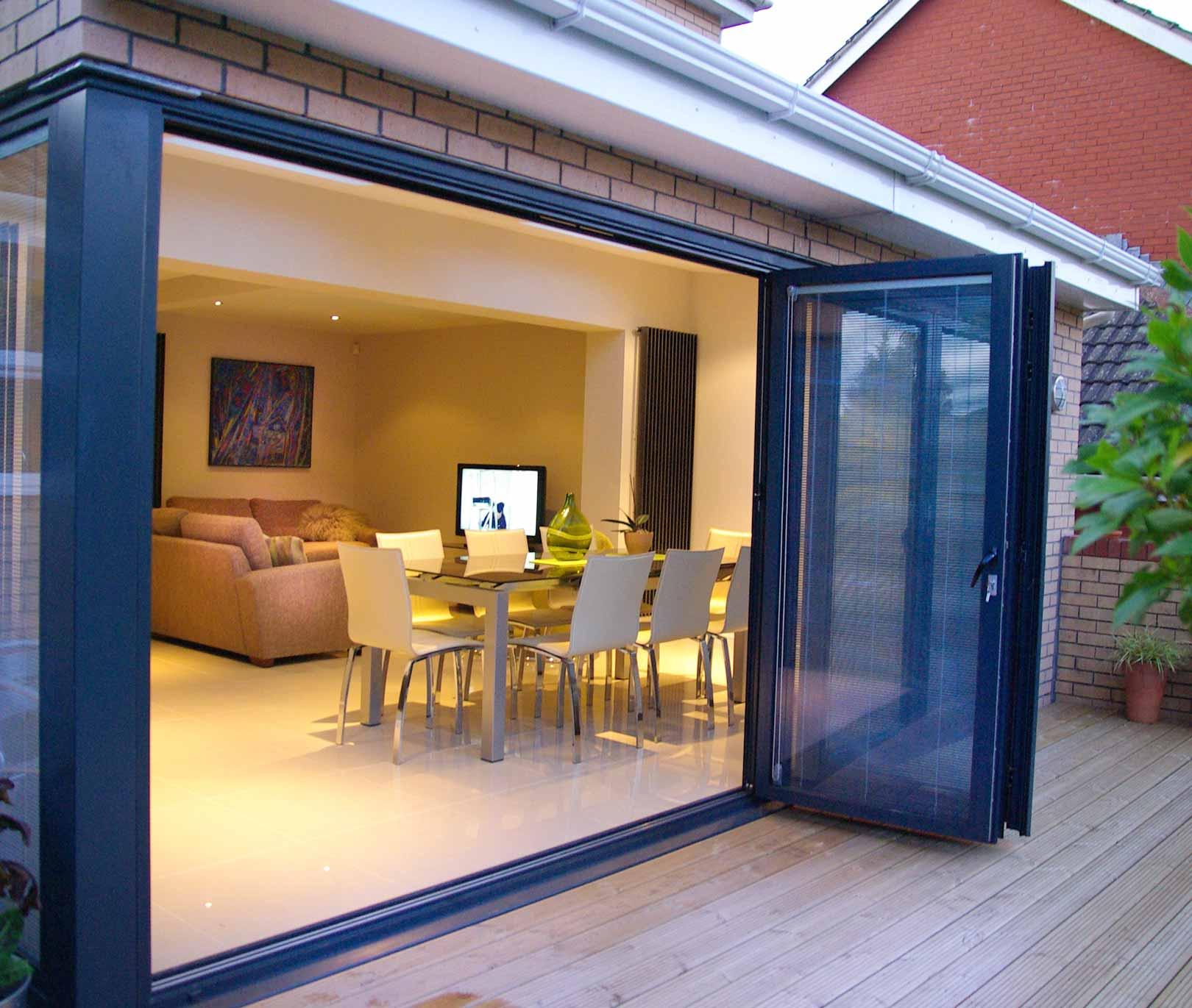 Black aluminium bifold door integral blinds