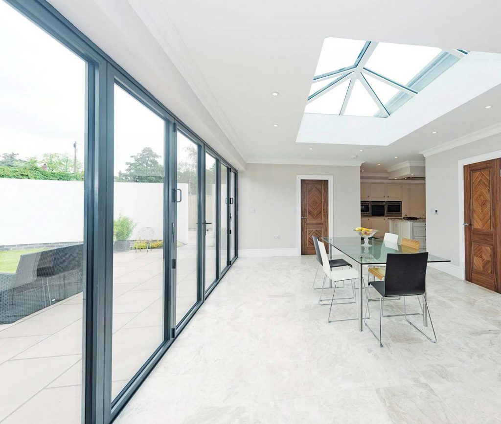 Internal grey aluminium bifold doors
