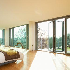 Grey aluminium balcony bifold doors