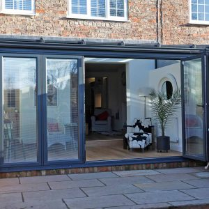Grey aluminium patio sliding door with integral blinds