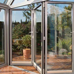 Conservatory aluminium bifold doors installation