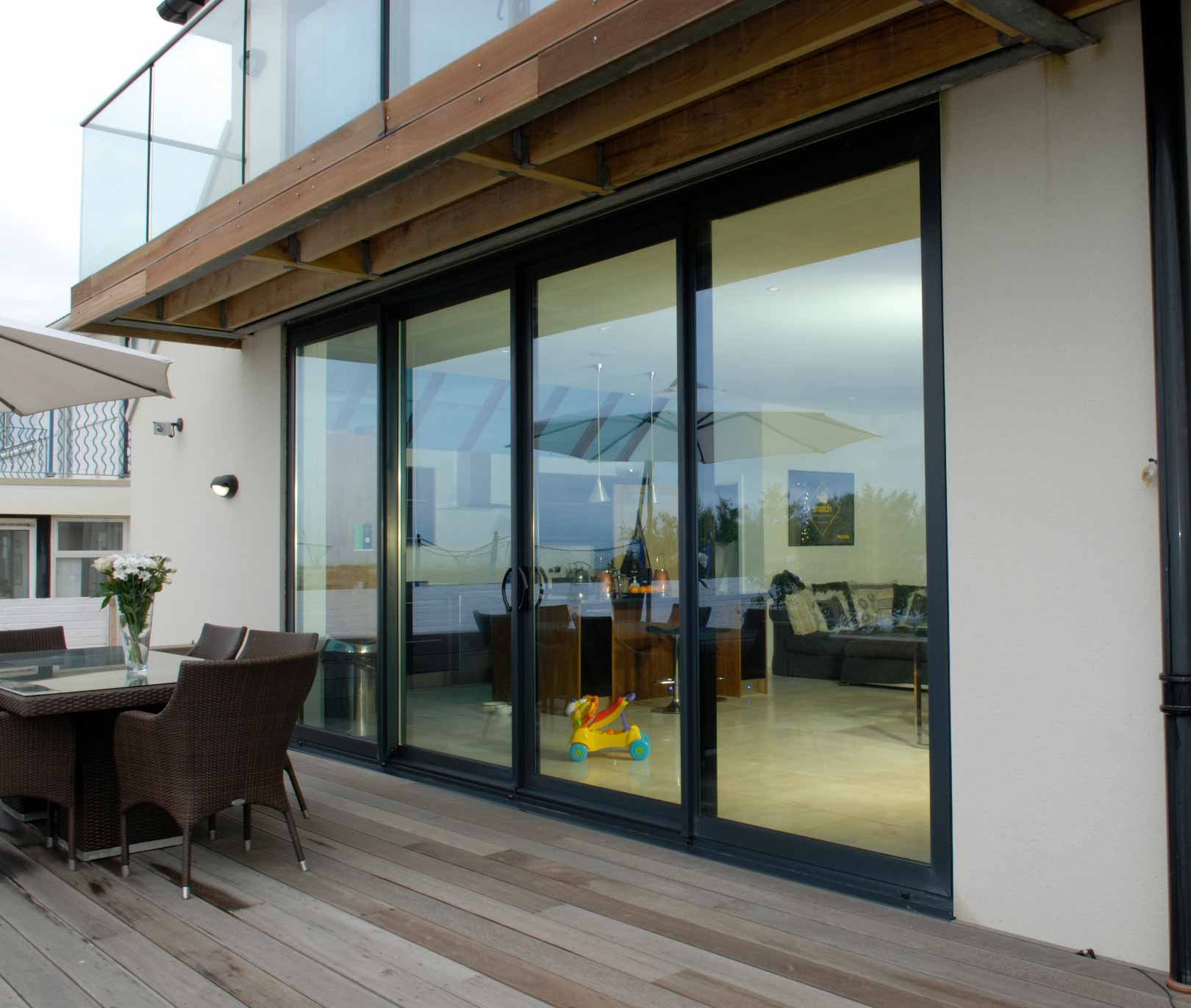 Black aluminium sliding patio door