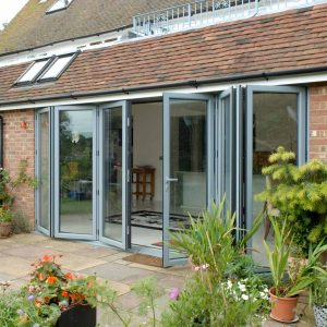 Grey aluminium bifold door installation