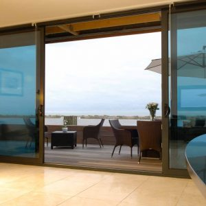 Black aluminium patio sliding doors